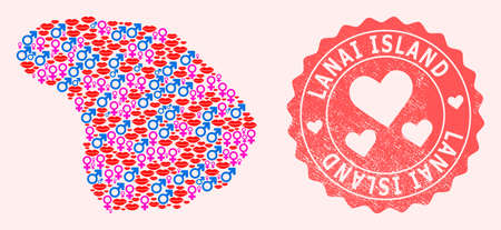 Vector composition of love smile map of Lanai Island and red grunge seal stamp with heart. Map of Lanai Island collage composed with smiles, male and female symbols.