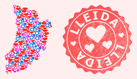 Vector collage of love smile map of Lleida Province and red grunge stamp with heart. Map of Lleida Province collage formed with smiles, male and female symbols.