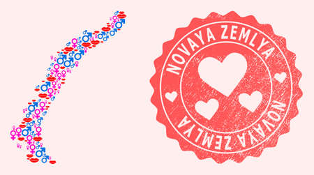 Vector collage of love smile map of Novaya Zemlya Islands and red grunge seal with heart. Map of Novaya Zemlya Islands collage designed with smiles, male and female symbols.