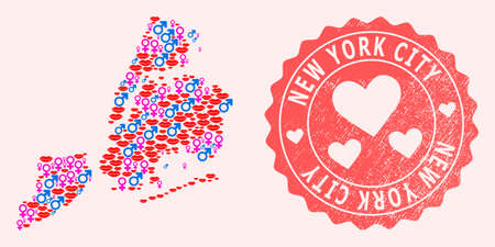 Vector collage of love smile map of New York City and red grunge seal stamp with heart. Map of New York City collage formed with smiles, male and female symbols. Illusztráció
