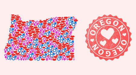 Vector combination of sexy smile map of Oregon State and red grunge stamp with heart. Map of Oregon State collage created with smiles, male and female symbols.