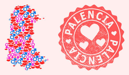 Vector collage of love smile map of Palencia Province and red grunge stamp with heart. Map of Palencia Province collage formed with smiles, male and female symbols.