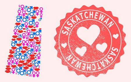 Vector collage of love smile map of Saskatchewan Province and red grunge seal stamp with heart. Map of Saskatchewan Province collage composed with smiles, male and female symbols.