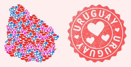 Vector collage of love smile map of Uruguay and red grunge seal with heart. Map of Uruguay collage composed with smiles, male and female symbols.