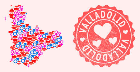 Vector collage of love smile map of Valladolid Province and red grunge stamp with heart. Map of Valladolid Province collage formed with smiles, male and female symbols.