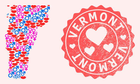 Vector collage of love smile map of Vermont State and red grunge seal stamp with heart. Map of Vermont State collage created with smiles, male and female symbols.