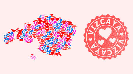 Vector combination of love smile map of Vizcaya Province and red grunge stamp with heart. Map of Vizcaya Province collage composed with smiles, male and female symbols.
