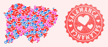Vector combination of love smile map of Salamanca Province and red grunge seal stamp with heart. Map of Salamanca Province collage composed with smiles, male and female symbols.