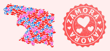 Vector collage of love smile map of Zamora Province and red grunge seal stamp with heart. Map of Zamora Province collage formed with smiles, male and female symbols.