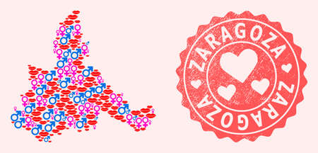 Vector collage of sexy smile map of Zaragoza Province and red grunge seal stamp with heart. Map of Zaragoza Province collage formed with smiles, male and female symbols.