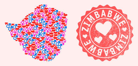 Vector collage of love smile map of Zimbabwe and red grunge seal with heart. Map of Zimbabwe collage formed with smiles, male and female symbols.