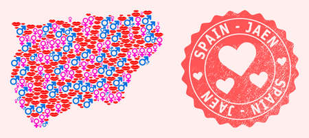 Vector collage of love smile map of Jaen Spanish Province and red grunge stamp with heart. Map of Jaen Spanish Province collage created with smiles, male and female symbols.