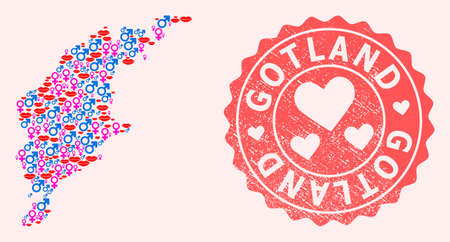 Vector collage of smile map of Gotland Island and red grunge stamp with heart. Map of Gotland Island collage composed with smiles, male and female symbols.