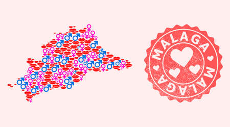 Vector combination of love smile map of Malaga Province and red grunge seal with heart. Map of Malaga Province collage designed with smiles, male and female symbols.