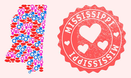 Vector collage of smile map of Mississippi State and red grunge seal stamp with heart. Map of Mississippi State collage formed with smiles, male and female symbols.