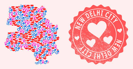 Vector collage of love smile map of New Delhi City and red grunge stamp with heart. Map of New Delhi City collage formed with smiles, male and female symbols.