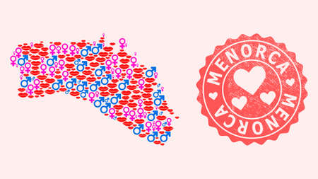 Vector collage of sexy smile map of Menorca Island and red grunge stamp with heart. Map of Menorca Island collage created with smiles, male and female symbols. Иллюстрация