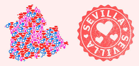 Vector collage of love smile map of Sevilla Province and red grunge seal stamp with heart. Map of Sevilla Province collage formed with smiles, male and female symbols.