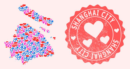 Vector collage of love smile map of Shanghai Municipality and red grunge stamp with heart. Map of Shanghai Municipality collage composed with smiles, male and female symbols. Illusztráció