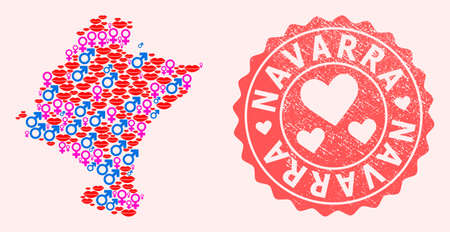 Vector composition of love smile map of Navarra Province and red grunge stamp with heart. Map of Navarra Province collage composed with smiles, male and female symbols.