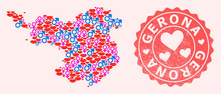 Vector composition of love smile map of Gerona Province and red grunge seal stamp with heart. Map of Gerona Province collage composed with smiles, male and female symbols.