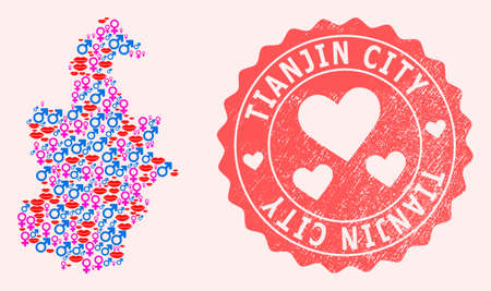 Vector collage of love smile map of Tianjin Municipality and red grunge seal with heart. Map of Tianjin Municipality collage created with smiles, male and female symbols. Illusztráció