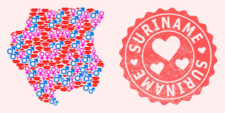 Vector collage of love smile map of Suriname and red grunge seal stamp with heart. Map of Suriname collage created with smiles, male and female symbols. Stock Illustratie