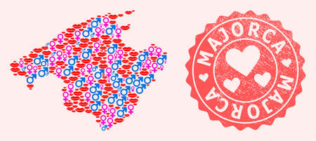 Vector collage of love smile map of Majorca and red grunge stamp with heart. Map of Majorca collage formed with smiles, male and female symbols.