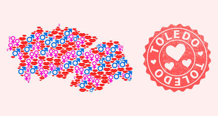 Vector collage of sexy smile map of Toledo Province and red grunge seal stamp with heart. Map of Toledo Province collage created with smiles, male and female symbols. Illustration