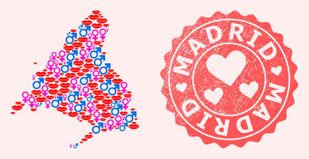 Vector collage of love smile map of Madrid Province and red grunge seal with heart. Map of Madrid Province collage composed with smiles, male and female symbols. Иллюстрация
