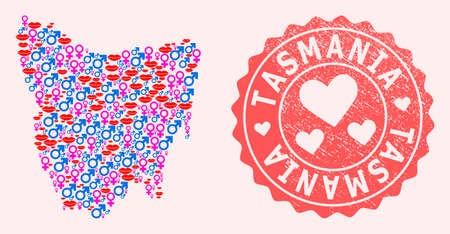 Vector collage of sexy smile map of Tasmania Island and red grunge stamp with heart. Map of Tasmania Island collage composed with smiles, male and female symbols. Illustration