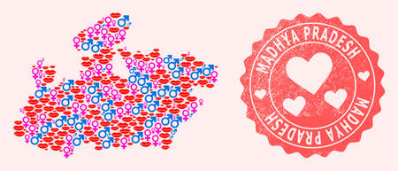 Vector collage of love smile map of Madhya Pradesh State and red grunge stamp with heart. Map of Madhya Pradesh State collage created with smiles, male and female symbols.