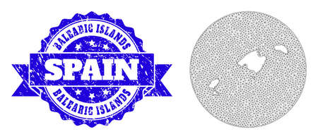 Mesh vector map of Balearic Islands with scratched seal. Triangle mesh map of Balearic Islands is a hole in a circle. Blue rounded textured seal with ribbon.