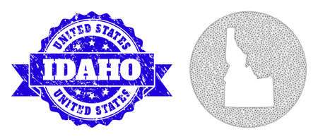 Mesh vector map of Idaho State with grunge seal. Triangular mesh map of Idaho State is cut out from a circle. Blue rosette textured seal with ribbon.