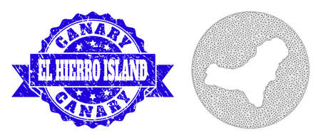 Mesh vector map of El Hierro Island with scratched watermark. Triangular mesh map of El Hierro Island is stencils in a round shape. Blue rounded scratched watermark with ribbon.