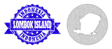 Mesh vector map of Lombok Island with grunge stamp. Triangular mesh map of Lombok Island is inverted in a round shape. Blue rosette grunge seal stamp with ribbon. 向量圖像