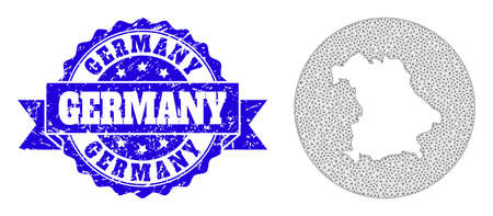 Mesh vector map of Germany with scratched seal. Triangle mesh map of Germany is carved in a round shape. Blue rounded grunge seal with ribbon.