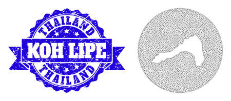Mesh vector map of Koh Lipe with scratched seal. Triangle mesh map of Koh Lipe is a hole in a round shape. Blue round scratched seal stamp has ribbon. 向量圖像