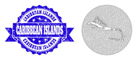 Mesh vector map of Caribbean Islands with scratched stamp. Triangular mesh map of Caribbean Islands is stencils in a circle. Blue rosette scratched seal stamp has ribbon.