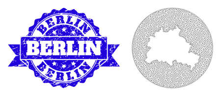 Mesh vector map of Berlin City with scratched stamp. Triangle mesh map of Berlin City is a hole in a round shape. Blue round textured stamp has ribbon.