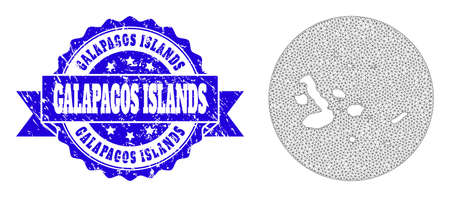 Mesh vector map of Galapagos Islands with grunge seal stamp. Triangle mesh map of Galapagos Islands is subtracted from a round shape. Blue round distress stamp with ribbon.