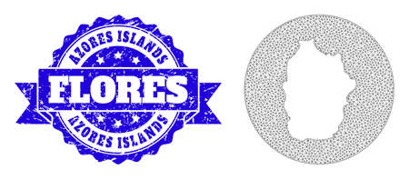 Mesh vector map of Azores - Flores Island with grunge stamp. Triangle network map of Azores - Flores Island is a hole in a round shape. Blue rosette grunge seal stamp has ribbon.