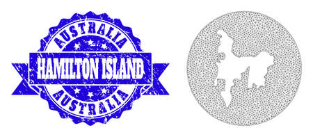 Mesh vector map of Hamilton Island with scratched seal stamp. Triangle net map of Hamilton Island is a hole in a circle. Blue rosette distress seal stamp with ribbon.
