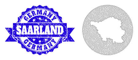 Mesh vector map of Saarland State with grunge stamp. Triangle mesh map of Saarland State is a hole in a round shape. Blue round scratched seal stamp with ribbon.