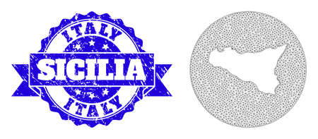 Mesh vector map of Sicilia Island with grunge stamp. Triangular mesh map of Sicilia Island is inverted in a round shape. Blue rosette grunge seal stamp with ribbon.