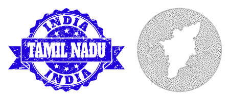 Mesh vector map of Tamil Nadu State with grunge seal. Triangle mesh map of Tamil Nadu State is a hole in a circle. Blue rosette grunge seal stamp with ribbon.