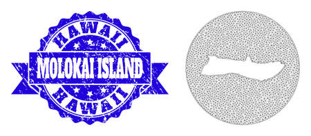 Mesh vector map of Molokai Island with grunge seal stamp. Triangular net map of Molokai Island is stencils in a round shape. Blue rounded distress seal stamp with ribbon.