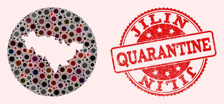 Vector map of Jilin Province collage of SARS virus and red grunge quarantine stamp. Infection cells attack the quarantine territory from out space.