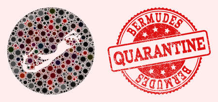 Vector map of Bermuda Islands collage of flu virus and red grunge quarantine seal stamp. Infection cells around the quarantine territory from out space.