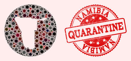 Vector map of Namibia collage of SARS virus and red grunge quarantine seal. Infection cells attack the quarantine territory from out space.